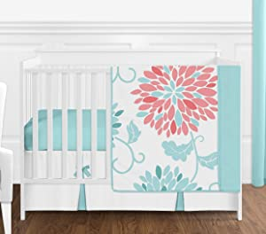Sweet Jojo Designs Turquoise and Coral Floral Baby Girl Nursery Crib Bedding Set - 4 Pieces - Blue and White Emma Flower