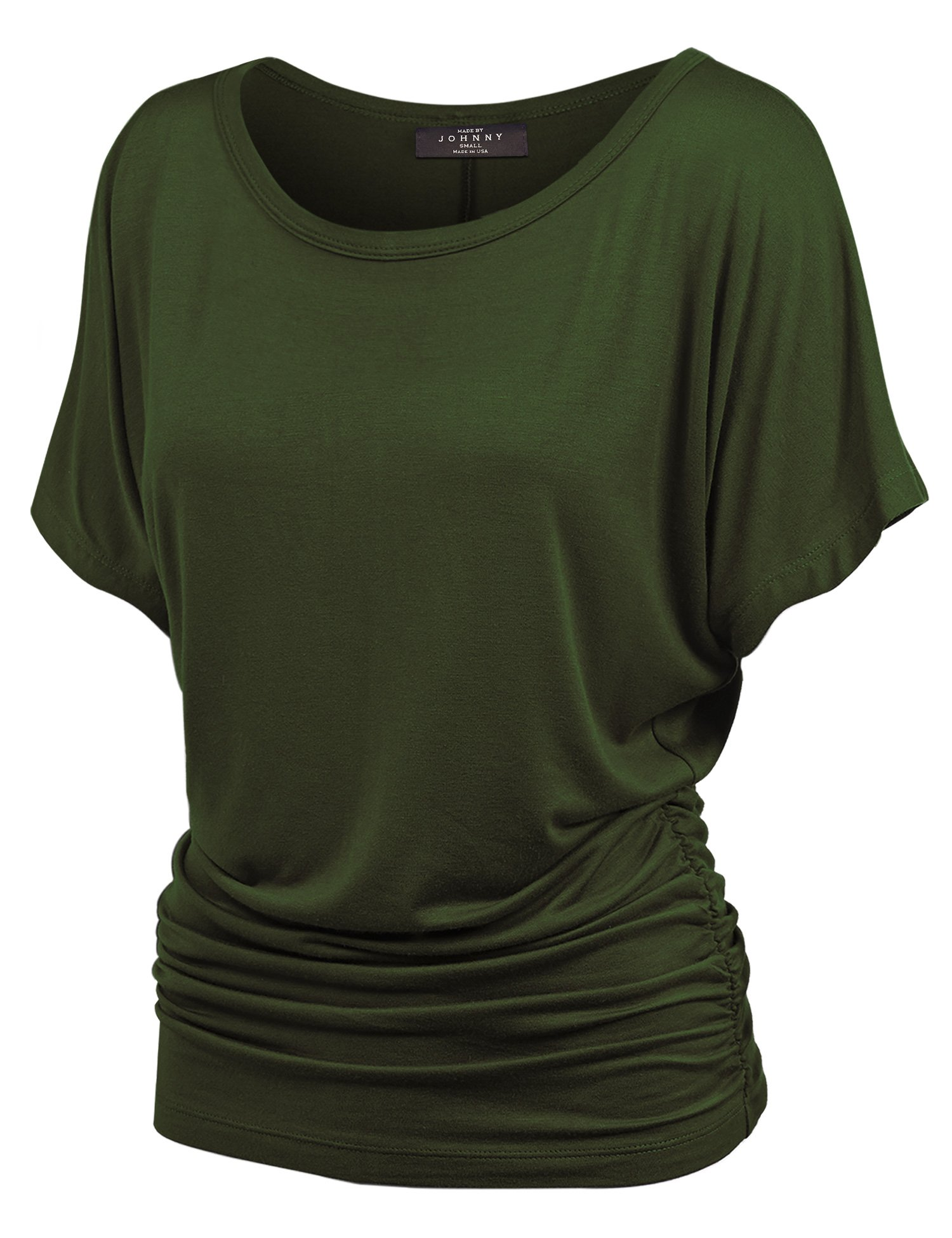 Made By Johnny WT817 Womens Dolman Drape Top with Side Shirring L Olive
