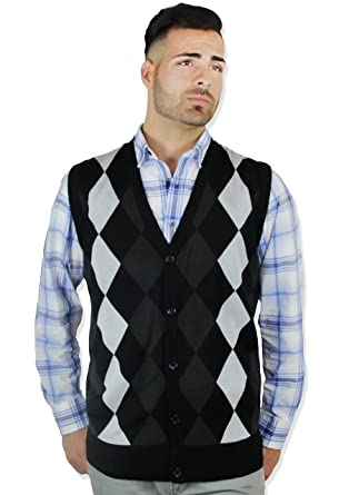 Blue Ocean Argyle Button-Down Sweater Vest at Amazon Men's ...