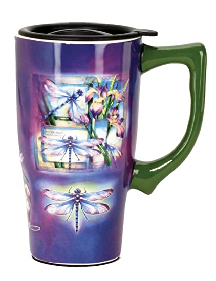 f0a81286d43 Spoontiques Dragonfly Travel Mug, Purple