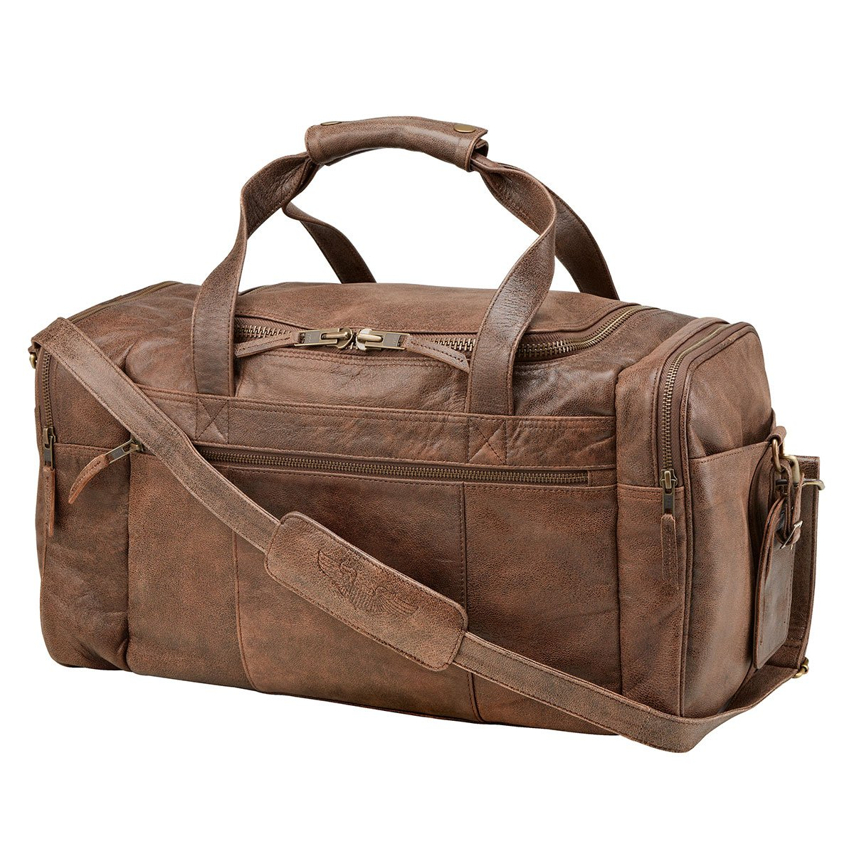 Pilot Wings Soft Leather Duffel Flight Bag