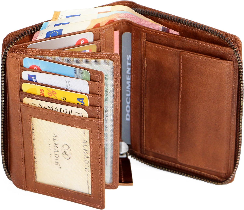 ALMADIH Leder Portemonnaie 17 Karten Geldbörse Herren Brieftasche Rindsleder P2H