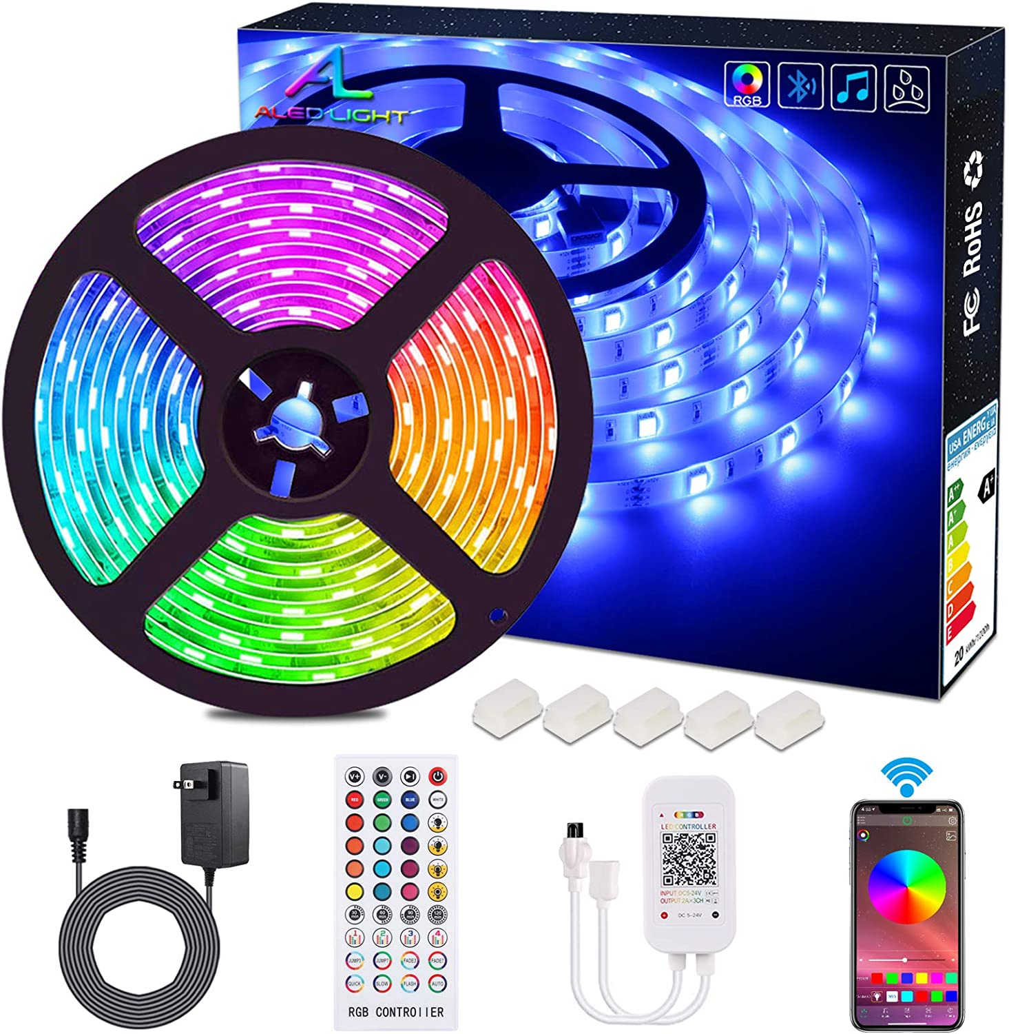 Amazon Com Bluetooth Led Strip Lights Aled Light 5050 16 4 Ft 5 Meter 150 Led Stripes Lights Smart Phone Controlled Waterproof Rgb Led Band Light For Home Outdoor Decoration Home Improvement