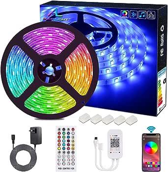Bluetooth LED Strip Lights ALED LIGHT 5050 16.4 ft/5 Meter 150 LED Stripes Lights Smart-Phone Controlled Waterproof RGB LED Band Light for Home&Outdoor Decoration