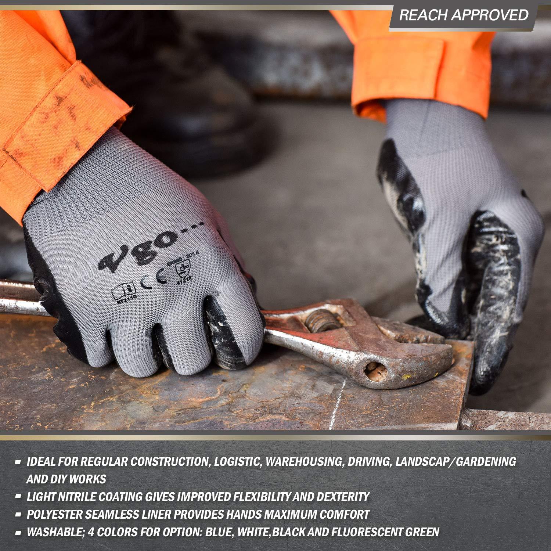 24 x Sicurezza Lavoro Guanti spessi in lattice con rivestimento Liner Non Slip Grip costruttori di riparazione