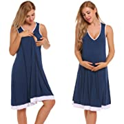Ekouaer Womens Sleeveless Maternity Pregnancy and Breastfeeding Nursing Nightgown,Blue,XX-Large