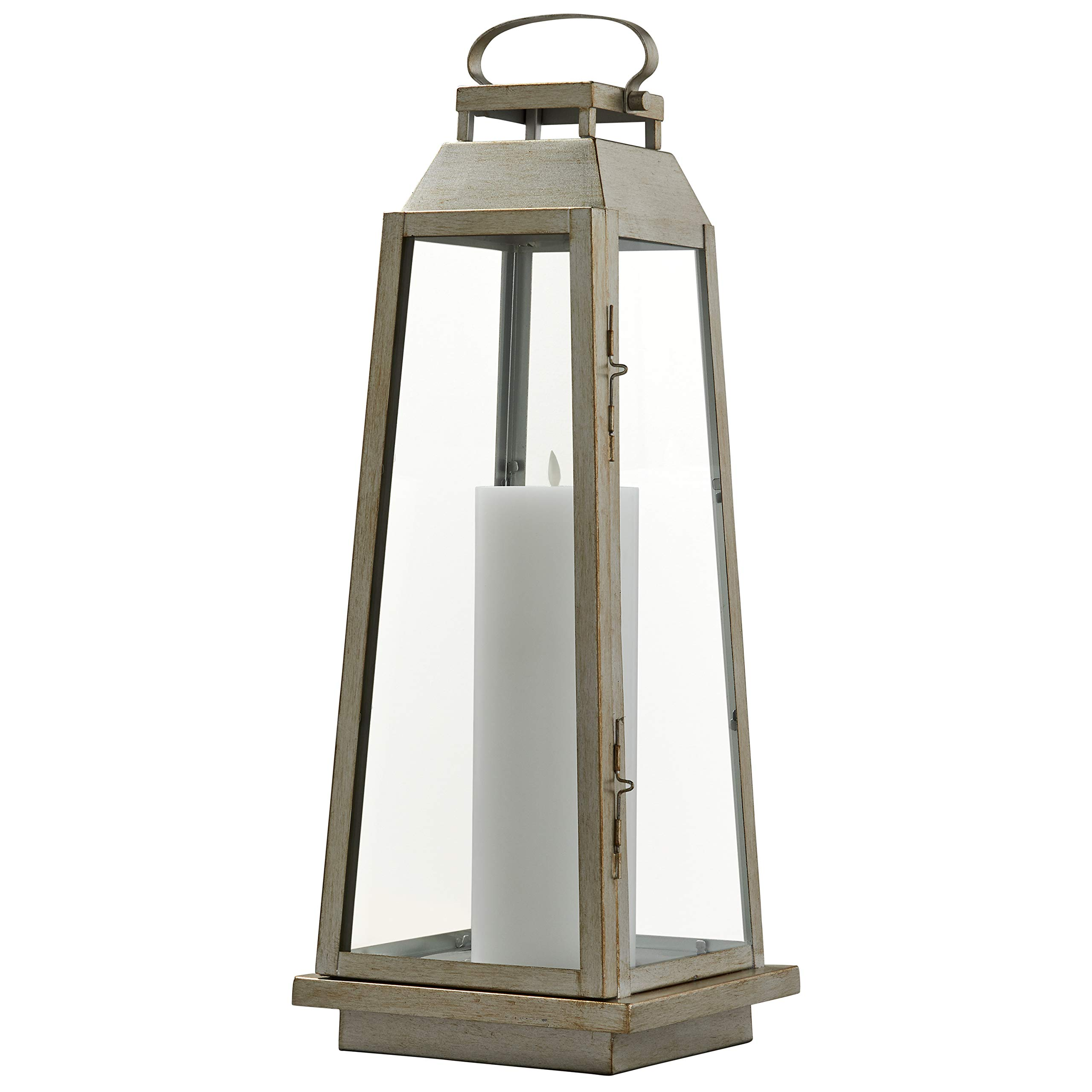 Stone & Beam Modern Traditional Decorative Metal and Glass Lantern with Candle, 25''H, Champagne Silver, For Indoor Outdoor Use