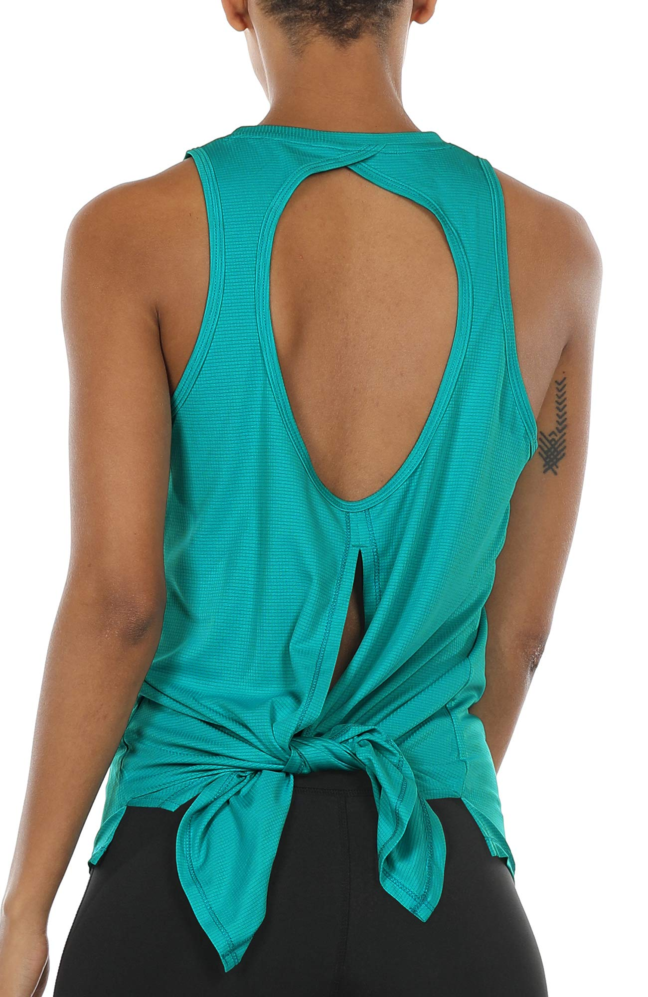 d344c48743 icyzone Open Back Workout Top Shirts - Activewear Exercise Yoga Tops for  Women (L, Peacock Green)