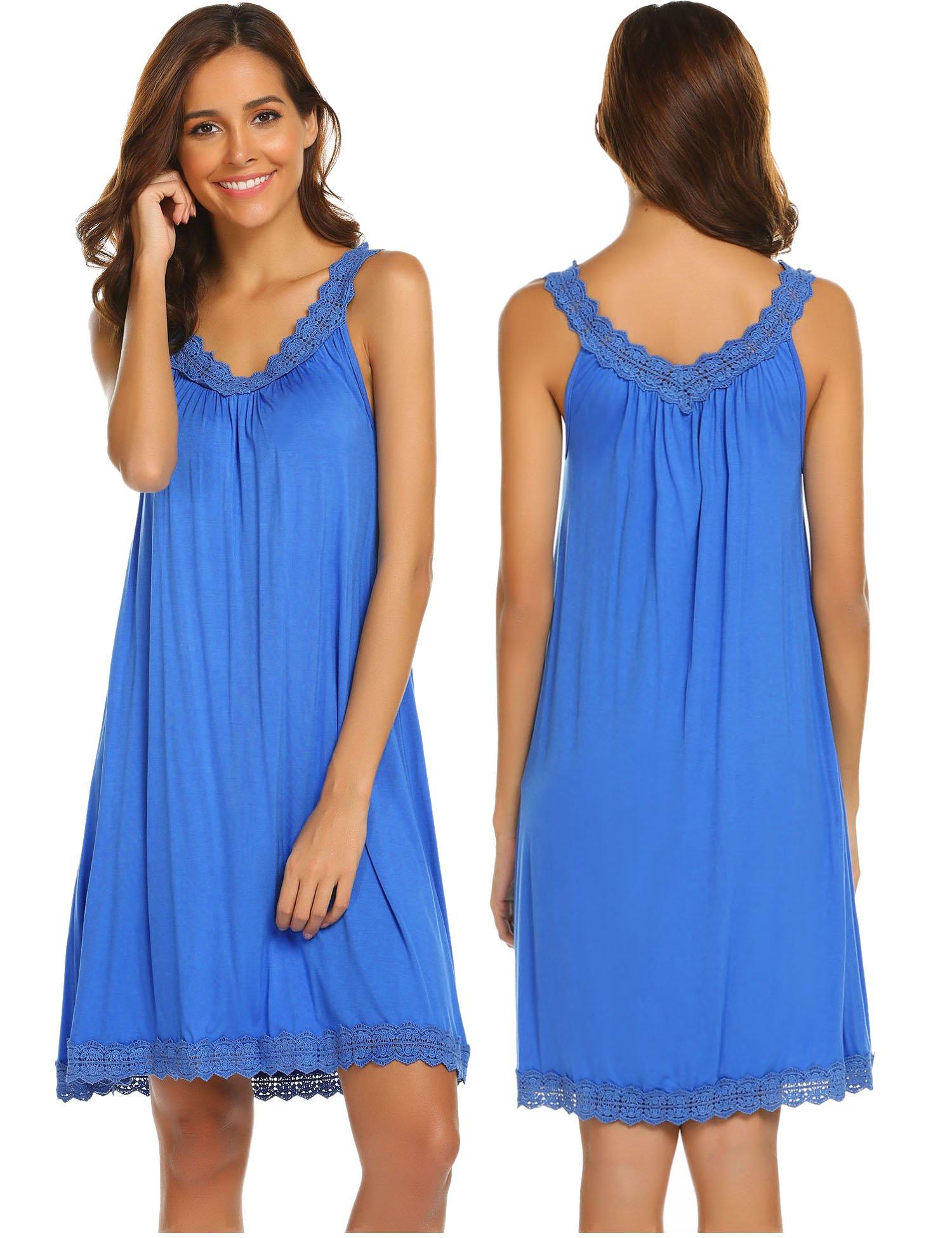 Ekouaer Sexy Lingerie Women's Sleepwear Cotton Lace-Trim Chemise Nightgown,Clear Blue,X-Large