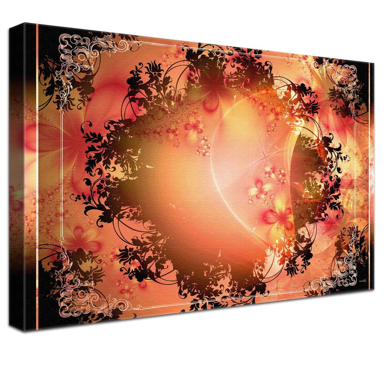 LANA KK Luxus Ausführung – Leinwandbild Barock Peaches  Abstraktes Design auf 4 cm Echtholz-Keilrahmen, Orange, 120 x 80 x 4 cm B074QRNHMQ | New Listing