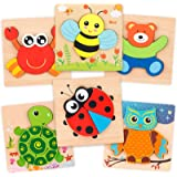 Coogam Wooden Jigsaw Puzzle Set, 6 Pack Animal Shape Color Montessori Toy, Fine Motor Skill Early Learning Preschool…