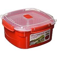 Sistema Microwave Dampfgarer, mittelgroß mit herausnehmbarem Korb, 2,4l, rot/transparent