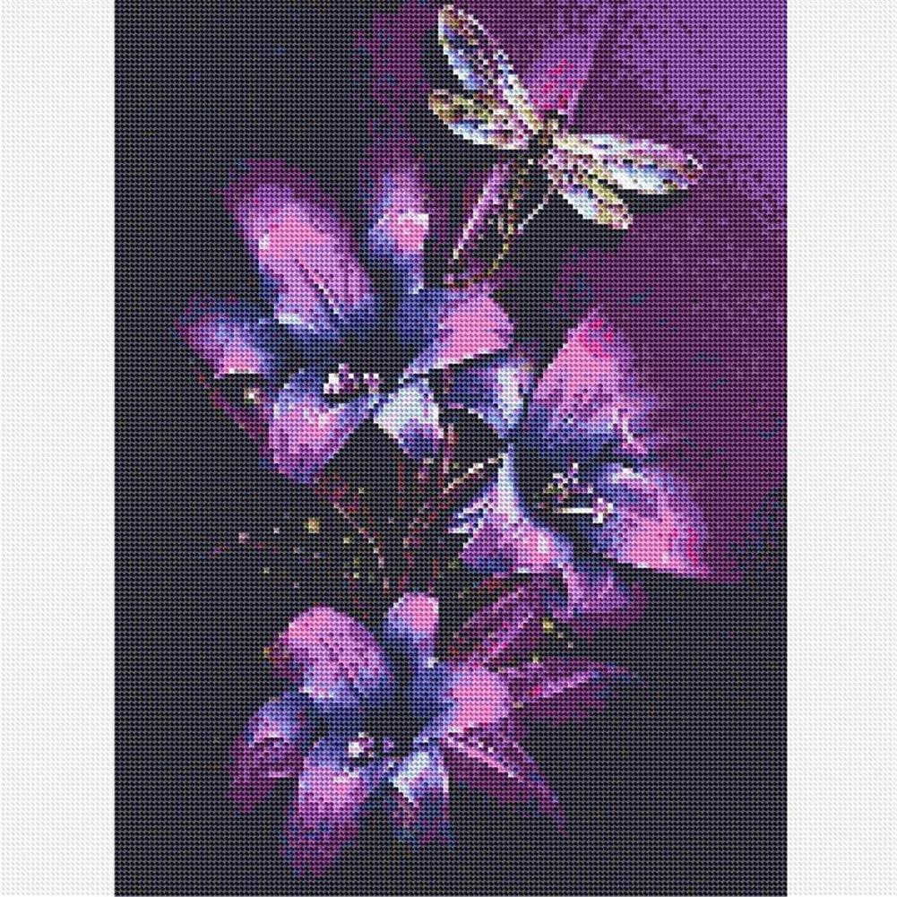 lila Lilie und Libelle 24,9 x 30 cm Heimdekoration runder Bohrer Diamant-Stickerei Lansauer 5D-Diamant-Malen-nach-Zahlen-Set f/ür Erwachsene