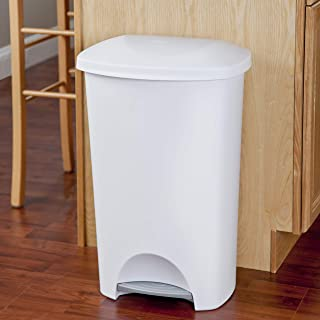 product image for Sterilite 10968004 11 Gallon/42 Liter StepOn Wastebasket, White Lid & Base w/ Titanium Pedal, 4-Pack