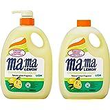 Mama Lemon Dishwashing Liquid, Regular, 1L Banded with 1L Refill