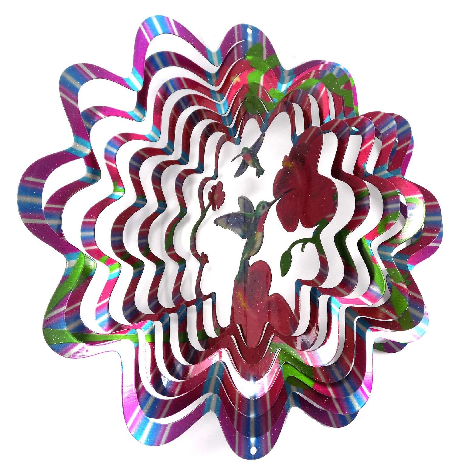 WorldaWhirl Whirligig 3D Wind Spinner Hand Painted Stainless Steel Twister Hummingbird (6.5'' Inch, Multi Color Rainbow)
