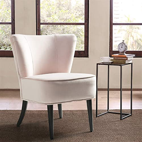 Blush Pink Velvet Chair Comfy Modern Velvet Upholstered Armless Rounded Back Accent Chair for Living Room Grils Room Good for Small Space-Pink