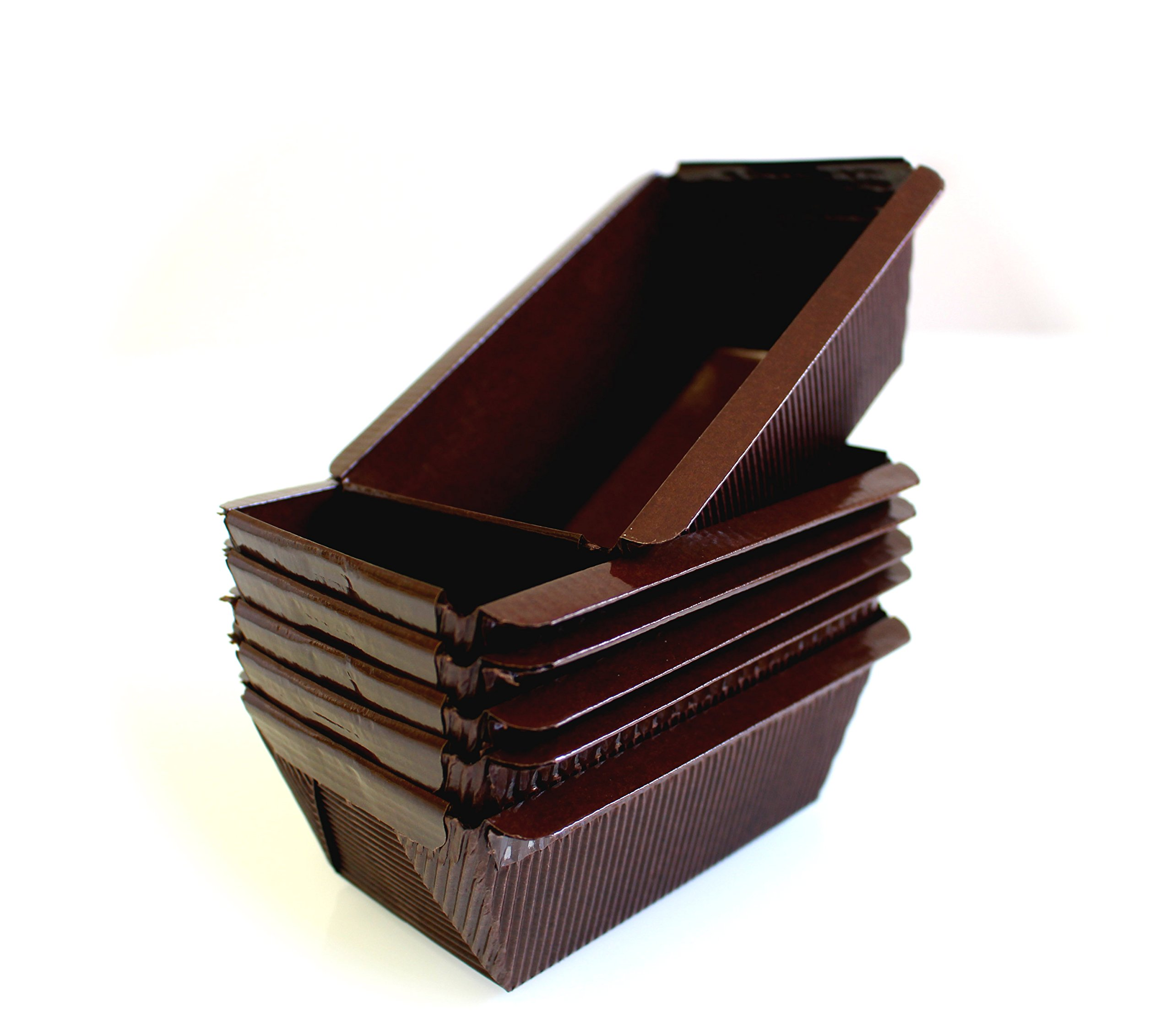 Mini Rectangular Paper Brown Loaf Cake Pan - 3 3/4''x2''x2'' Poly-laminated interior - 25pcs