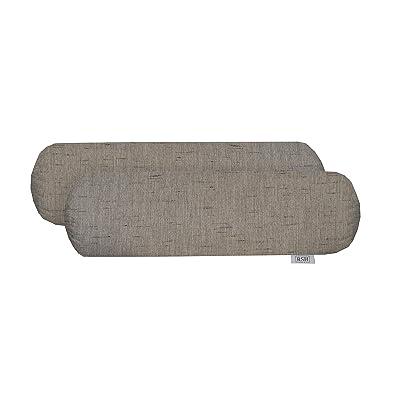 "RSH Décor Set of 2 Indoor Outdoor Decorative Bolster Neckroll Throw Pillows Sunbrella Frequency Ash (20"" x 6""): Home & Kitchen"