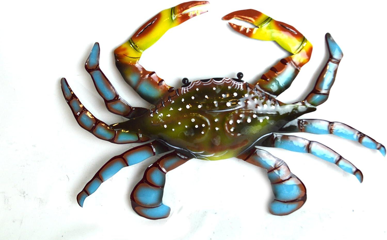 Crab hand painted Metal wall hanging dark blue sea life decor