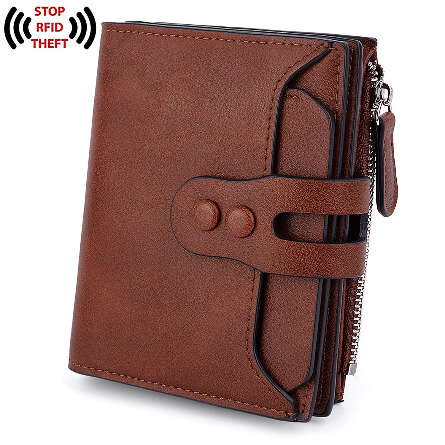 UTO Women's RFID Blocking PU Matte Leather Wallet Card Holder Organizer Girls Small Cute Coin Purse with Snap Closure 215 Brown