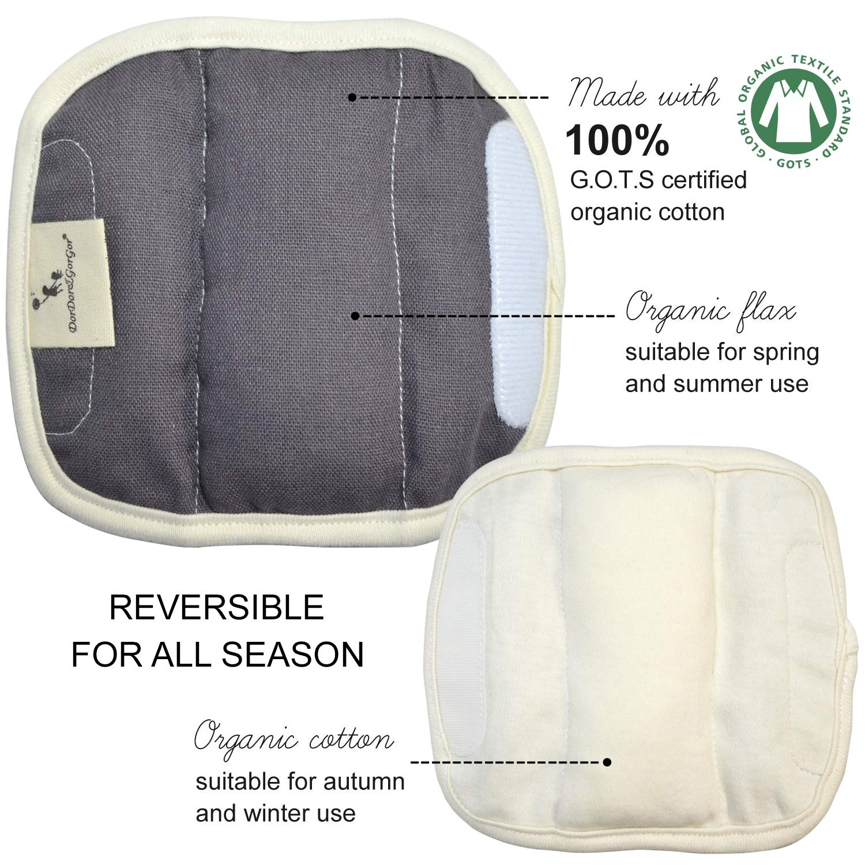 Extra Plush 100/% Cotton DorDor /& GorGor Organic Baby Seat Belt Cushion Linen White
