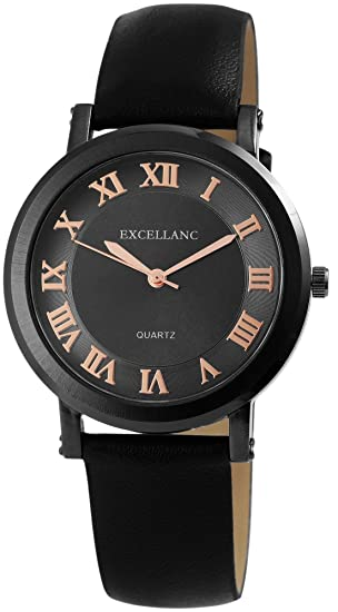 Reloj mujer Negro Números Romanos analógico de cuarzo piel Reloj de pulsera