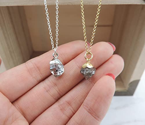 Sterling vermeil herkimer diamond quartz 18 necklace.