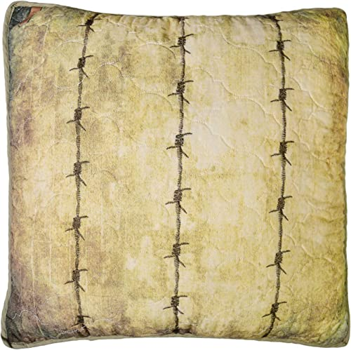 Donna Sharp Throw Pillow – Wood Patch Lodge Decorative Throw Pillow with Barbed Wire Print – Square