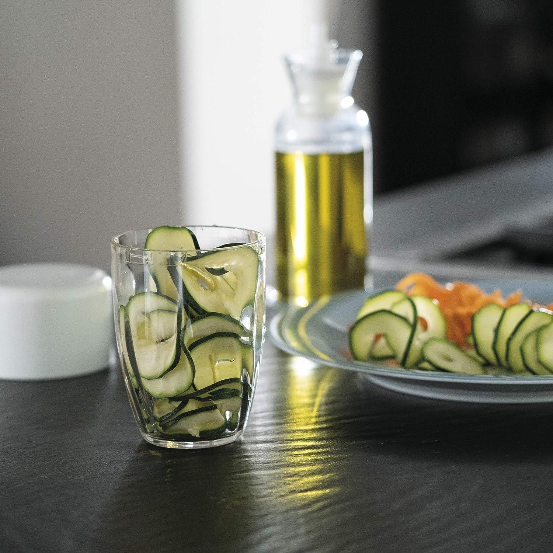 Acier Inoxydable 9 cm poly/éthyl/ène copolym/ère acrylonitrile styr/ène butadi/ène Blanc Guzzini Spiralize e Go Kitchen Active Design Spiraliseur /à Main