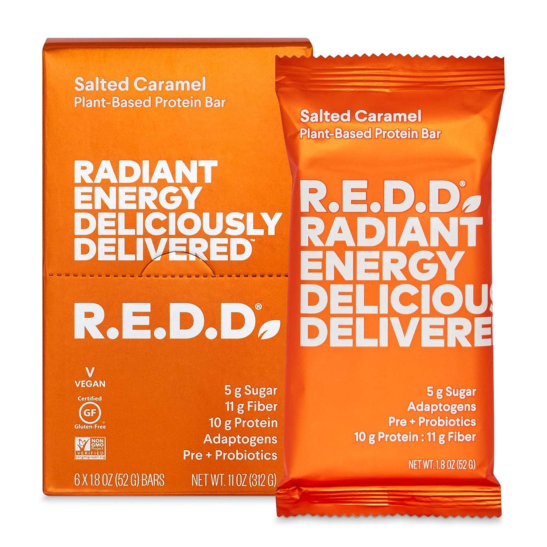 R.E.D.D. Bar, Vegan Protein Bar, Low Sugar & Gluten-Free[a], Salted Caramel, 6 Bars