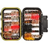 FISHINGSIR Fly Fishing Flies Kit - 24/64/100/120pcs Handmade Fly Fishing Lures - Dry/Wet Flies,Streamer, Nymph, Emerger with Waterproof Fly Box