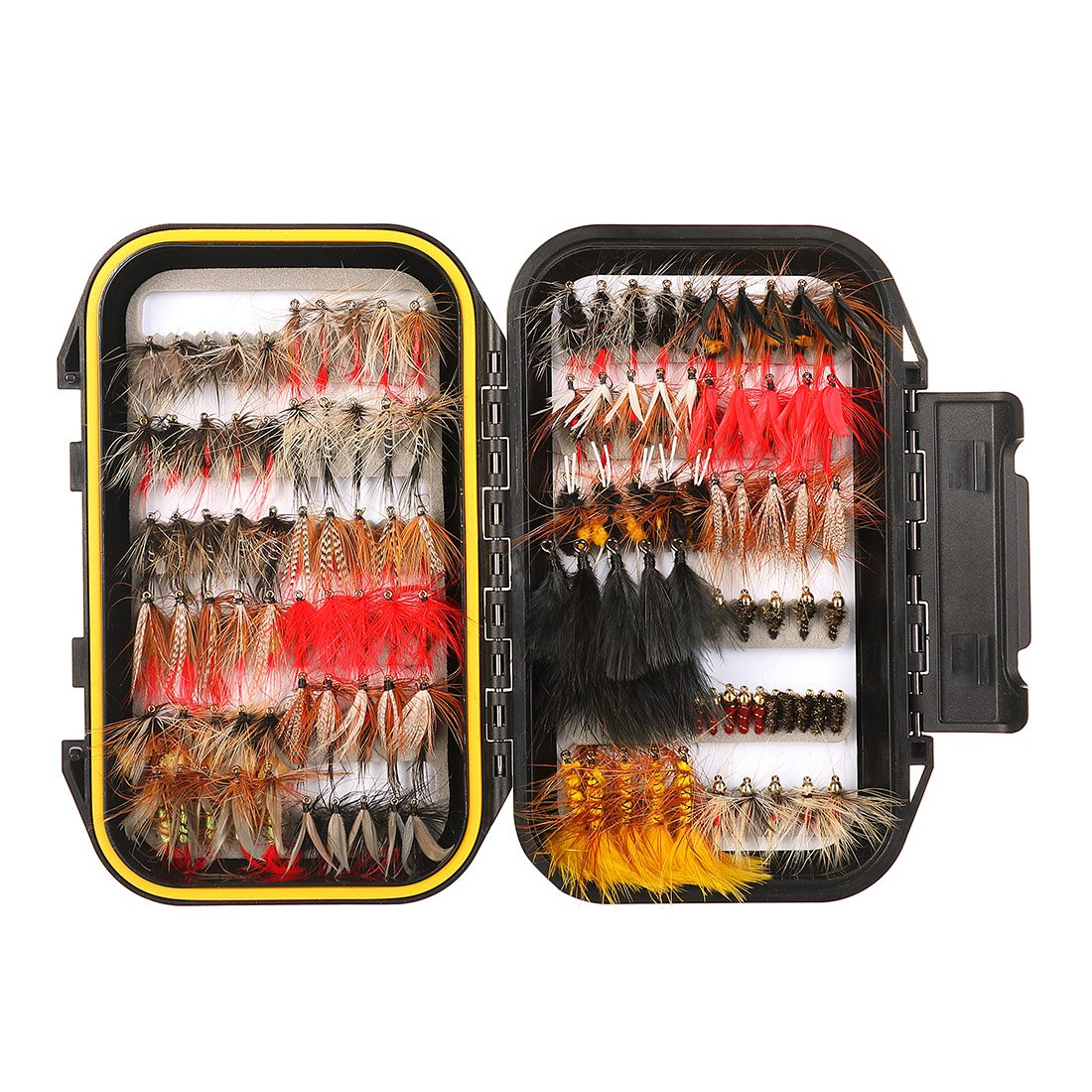 FISHINGSIR 120PCS Fly Fishing Flies Set Assorted Dry/Wet Flies Fly Fishing Lures with Waterproof Fly Box by FISHINGSIR