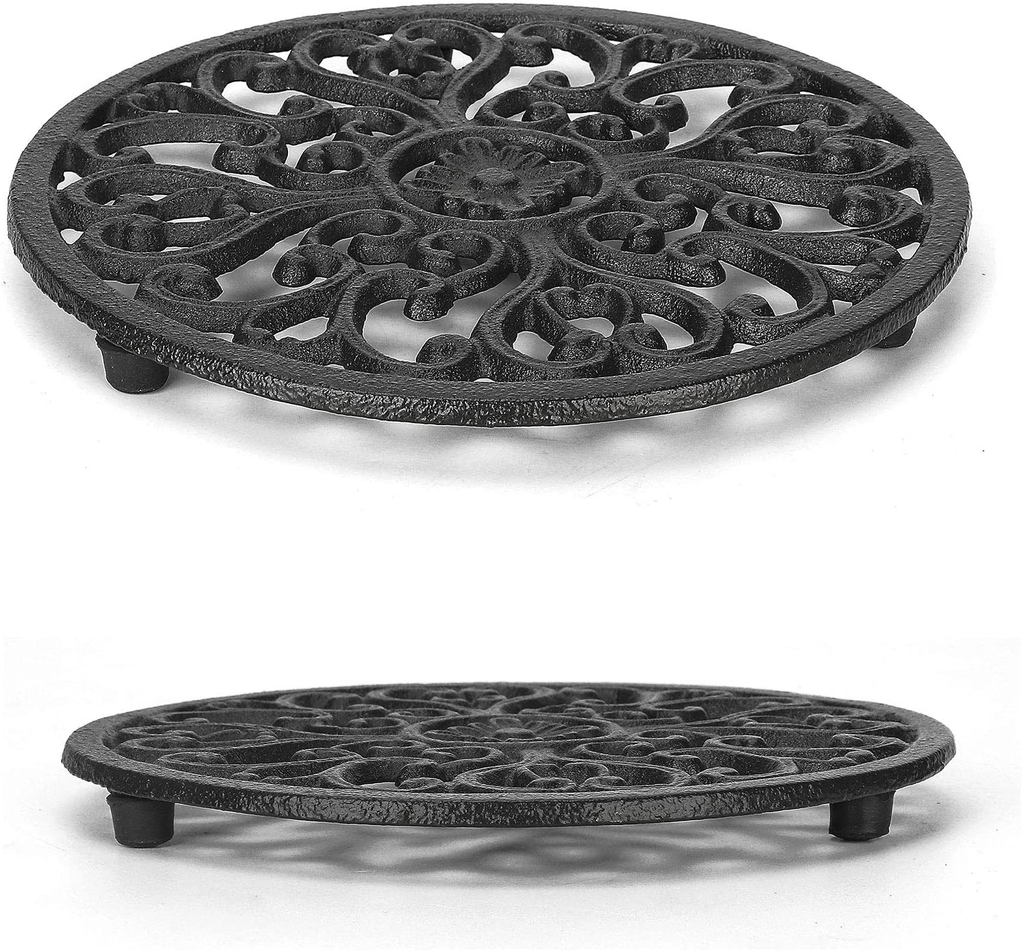 Trivet 6.7 Inch, Cast Iron Trivet With Rubber Pegs/Feet Non-Slip, Rustic Trivets For Hot Pots And Pans, Decorative Kitchen Trivet Mats Hot Pads Pot Coasters(2 Pack)