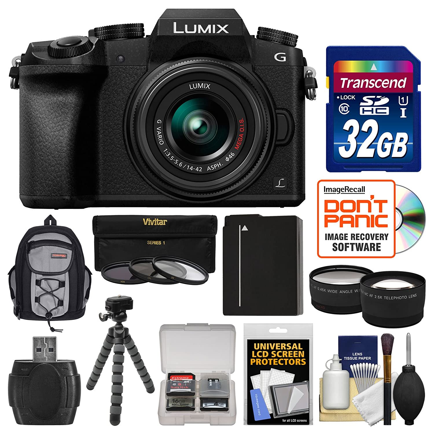 Panasonic Lumix DMC-G7 4K Wi-Fi Digital Camera & 14-42mm Lens (Black) with  32GB Card + Backpack + Battery + Flex Tripod + Filters + Tele/Wide Lens Kit