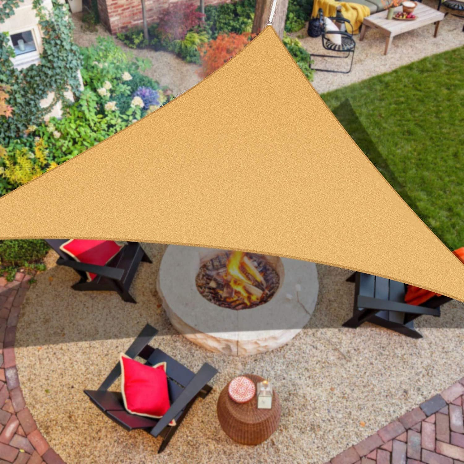 """iCOVER Sun Shade Sail Canopy, 185GSM Fabric Permeable Pergolas Top Cover, for Outdoor Patio Lawn Garden Backyard Awning, 16'5""""x16'5""""x16'5"""", Sand"""