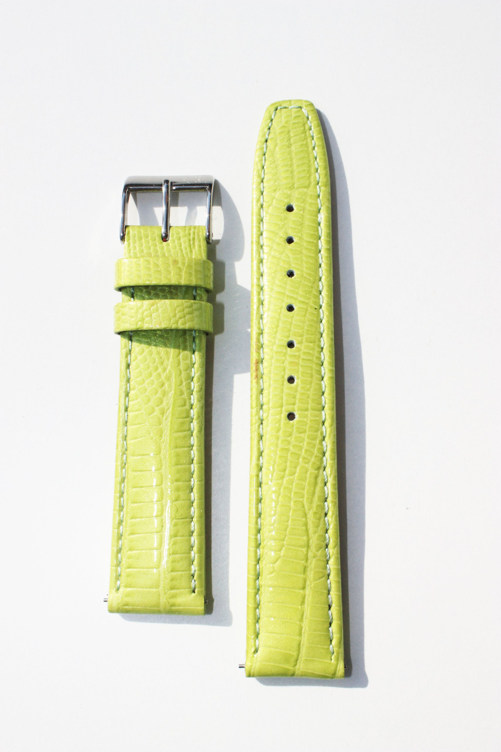 14mm Lime Green Quick-release Patent Leather Lizard Grain Watchband for Michele Style