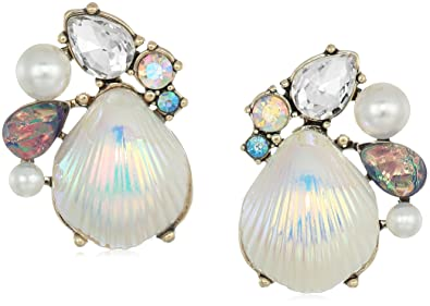 d7e7bba4b454 Betsey Johnson Women s Crabby Couture Seashell and Stone Cluster Stud  Earrings