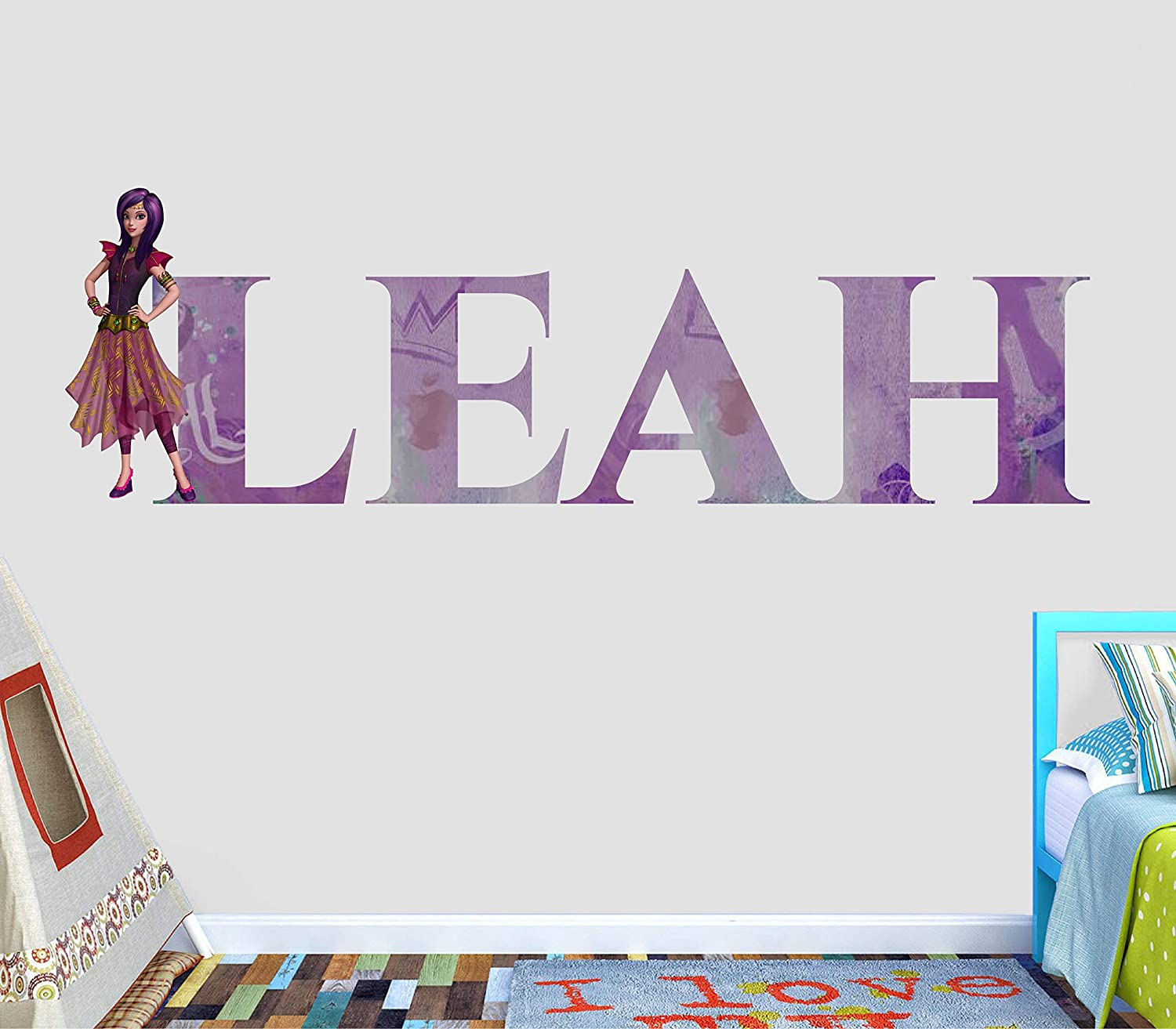 Disney Descendants 24 Wall Decals Mal Evie Room Decor Stickers Isle Of The Lost Disney Descendants Playroom Mal And Evie