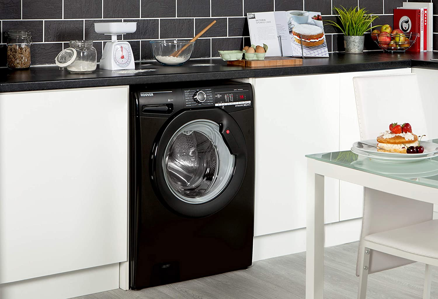 8Kg Load Black 1600rpm Spin NFC Connected Hoover DXOA 68LB3B Freestanding Washing Machine
