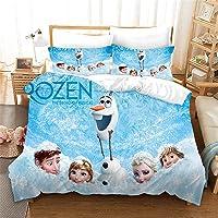 SMNVCKJ Juego de ropa de cama infantil de Frozen de Anna y Elsa, Olaf Kristoff con impresión digital 3D, poliéster, en…