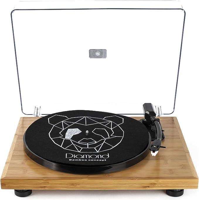 Vitrola Toca Discos Diamond - Bamboo Collection - Agulha Japonesa com software de gravação para MP3 por Echo Vintage