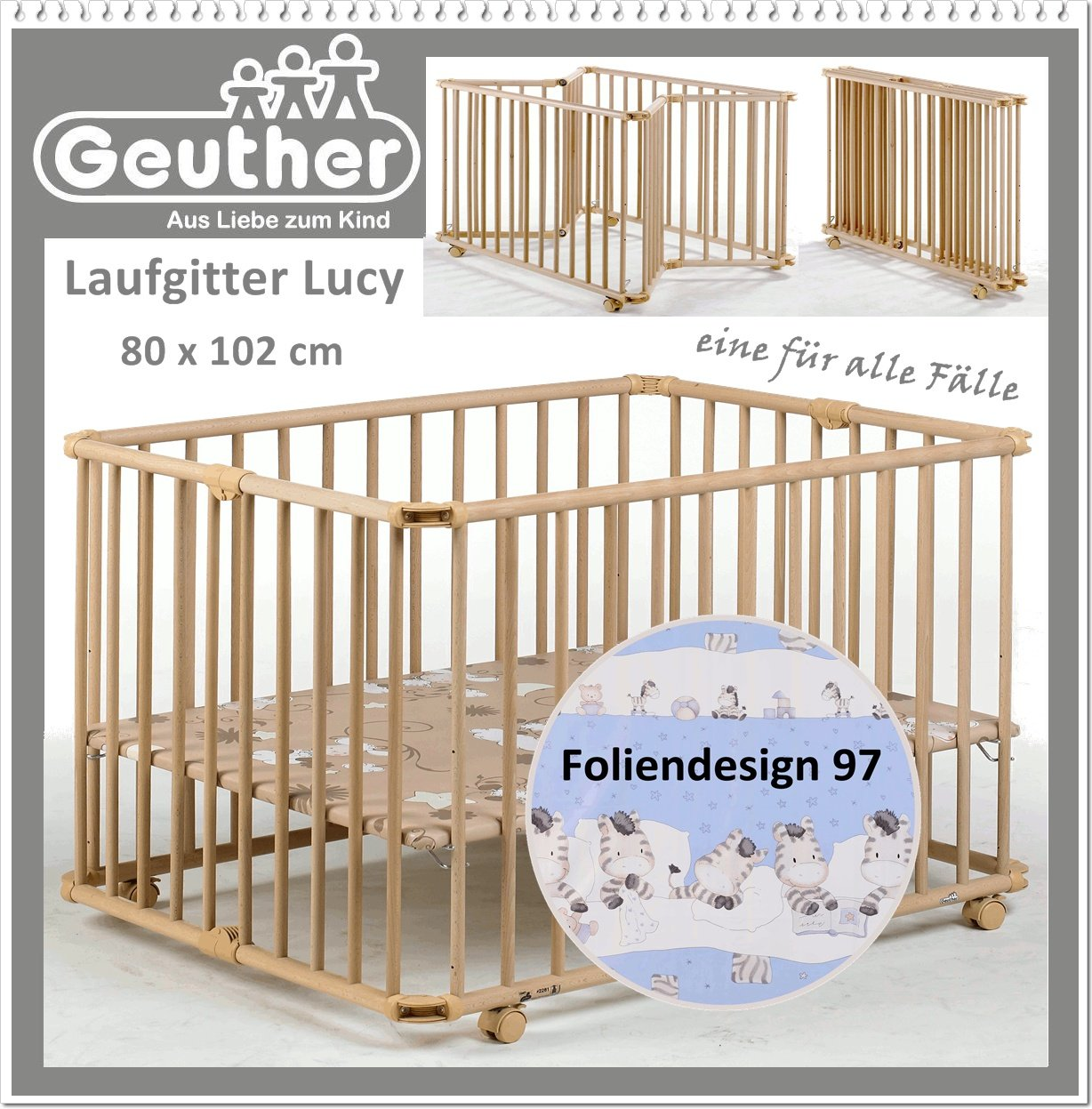 GEUTHER Laufgitter Lucy Laufstall Baby - 800 x 1020 x 735