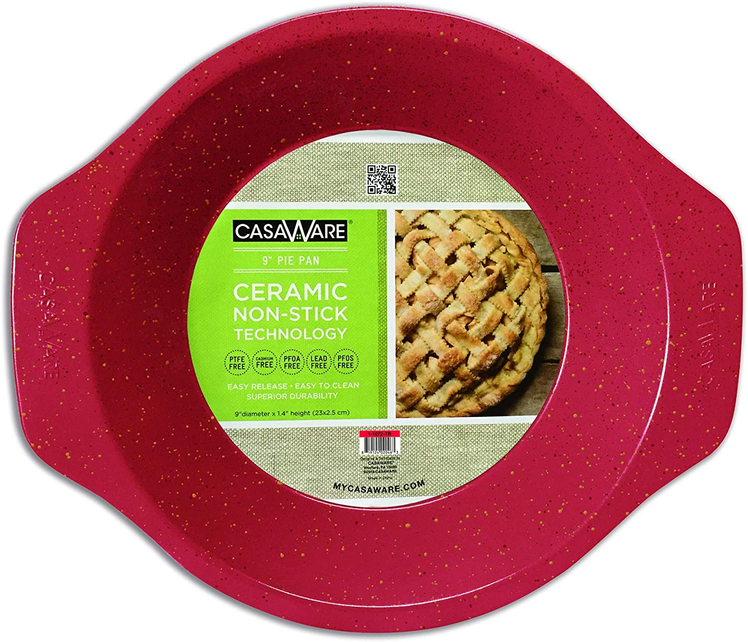 casaWare Ceramic Coated NonStick 9-Inch Pie Pan (Red Granite)