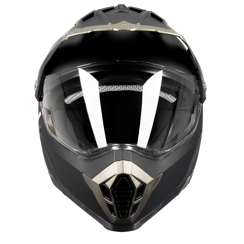 Westt Cross Casque De Moto Noir Cross Avec Double Visière Ece