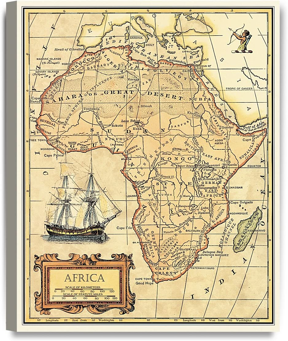 DECORARTS- Africa map Wall Art. Ancient Map Giclee Print Canvas Art Wall Decor, Map of Historical Africa.20x16