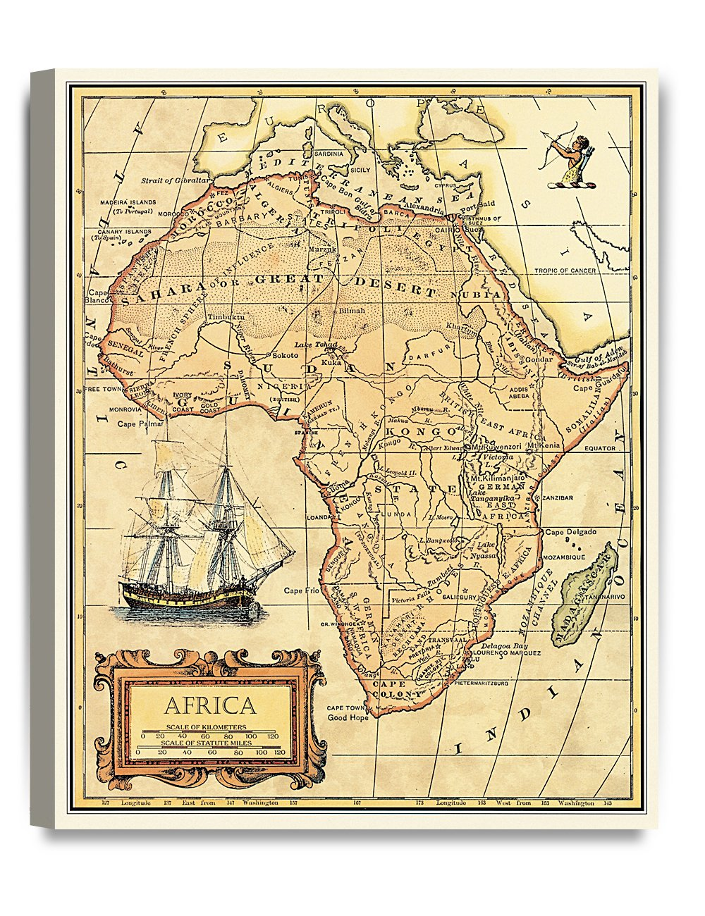 Amazon.com: DecorArts- Africa map wall art. Ancient Map Giclee Print ...