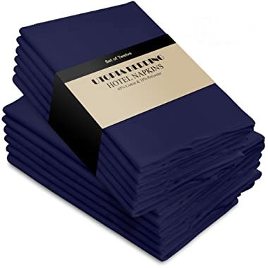 Utopia Bedding Cotton Dinner Napkins - Navy Blue - 12 Pack (18 inches x 18 inches) - Soft and Comfortable - Durable Hotel Quality - Ideal for Events and Regular Home Use