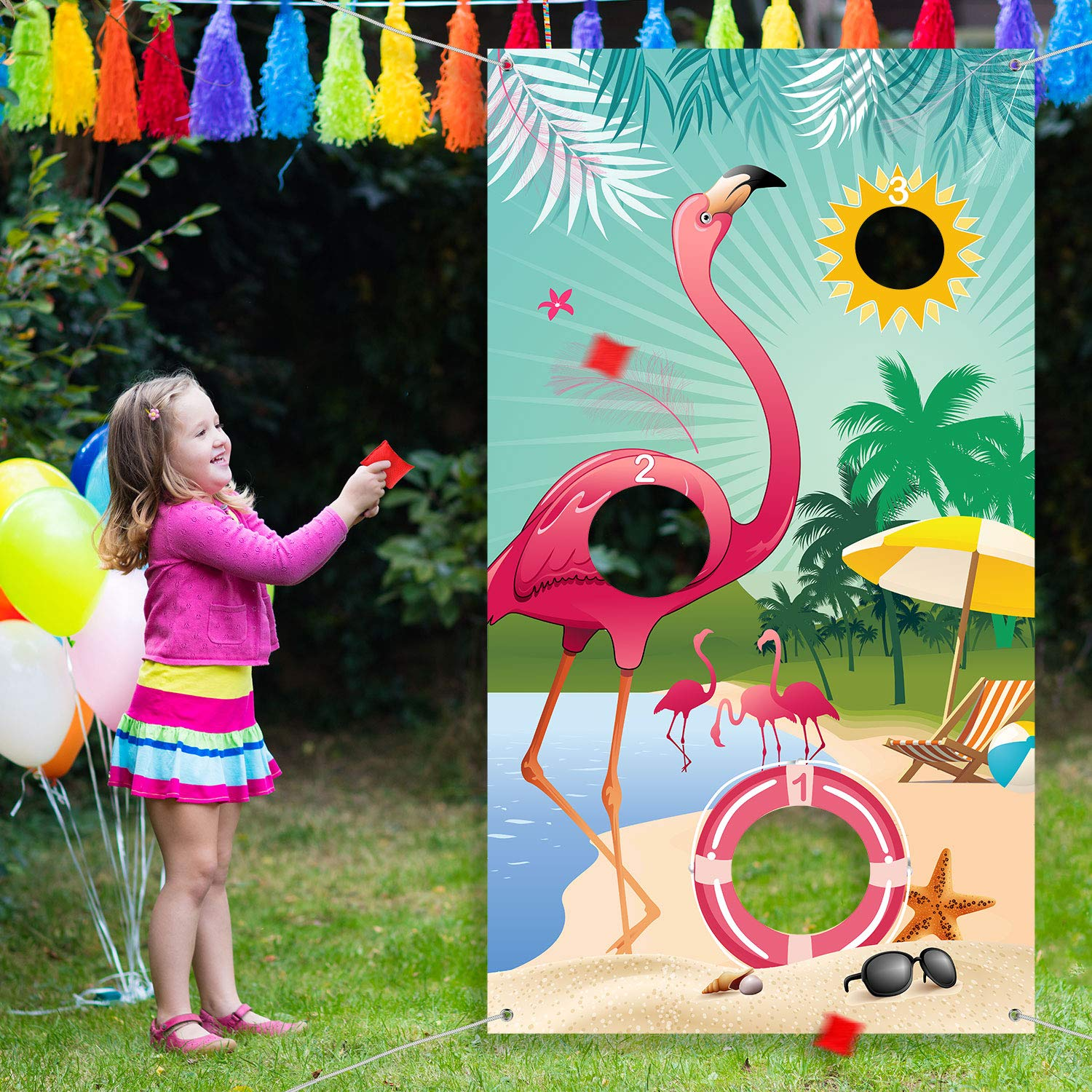 Carnival Toss Game Flamingo Toss Games with 3 Nylon Bean Bags, Flamingo Backdrop Toss Games Banner for Flamingo Theme Party Birthday Party Decoration by Blulu
