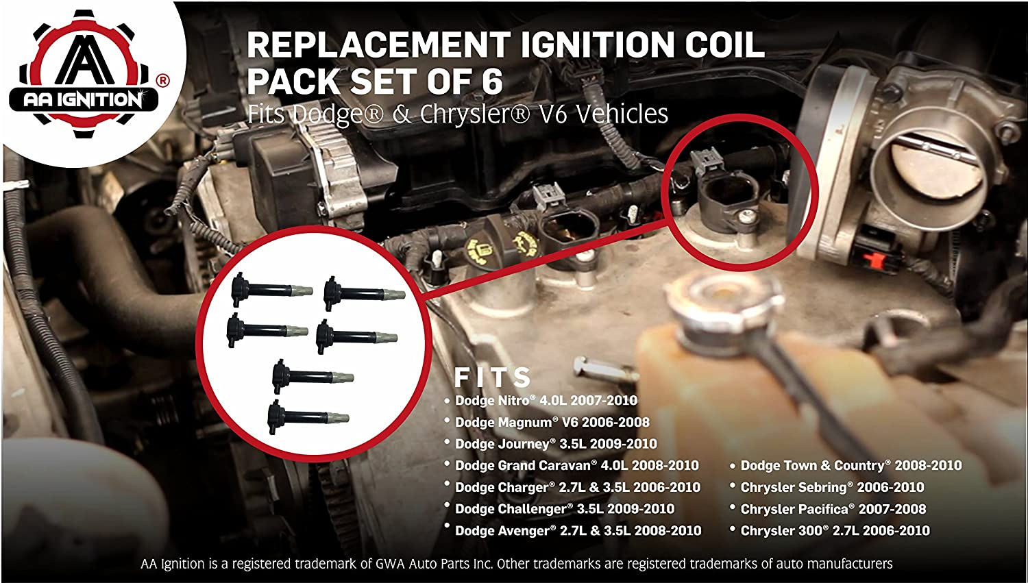Ignition Coil Pack Set Of 6 Fits Dodge Chrysler V6 2010 Journey Fuel Filter Location 25l 27l 35l Replaces 4606869aa Magnum Charger Nitro